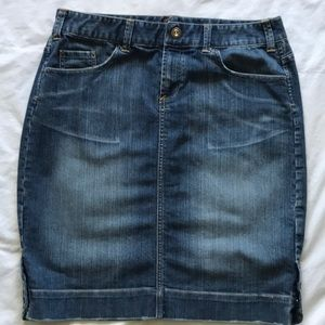 Mid length jean skirt snap side slits